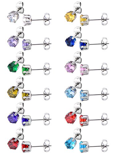 12 Pairs Stud Earrings Stainless Steel Ear Studs Round Cubic Zircon Earring for Women Girls, 12 Colors