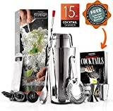 Mixology Bartender Cocktail Shaker Set - 15 & 30 oz Stainless Steel Cocktail Bar Set Mix Drink Shaker Kit - Essentials Martini Making Kit Drink Mixing Starter Set - NutriChef