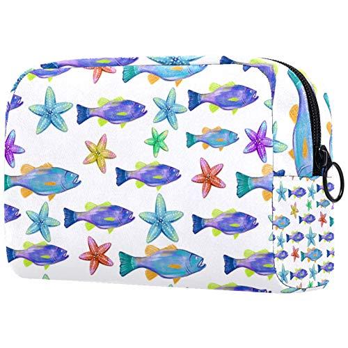 Kosmetiktasche für Make-up-Pinsel, tragbar, für Damen, Handtasche, Kosmetiktasche, Reise-Organizer, Aquarell, Bass, Fisch