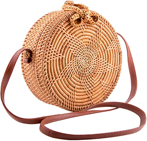 Handmade Round Ata Rattan Bag - Boho Shoulder Straw Bag - Crossbody Purse Women