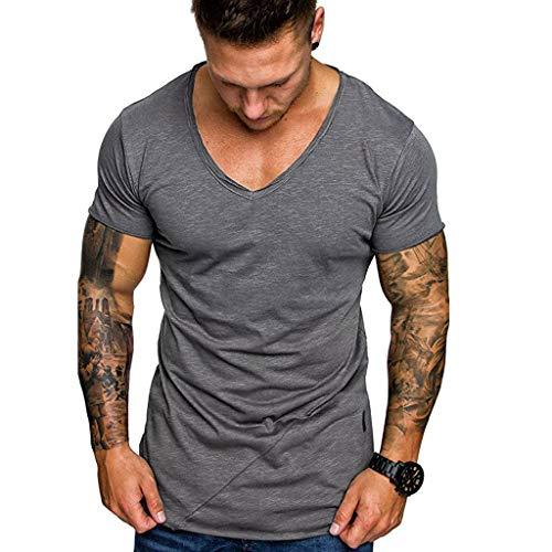 Xmiral T-Shirt Oberteile Herren Sommer V-Ausschnitt Lässige Polyester Dünne Kurzarmbluse Tops Sweatshirt Fitness Sport Hemd(L,Grau)