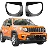 JeCar Headlight Bezels Headlight Trim Cover Angry Bird Head Lamp Ring for 2019-2020 Jeep Renegade, Black