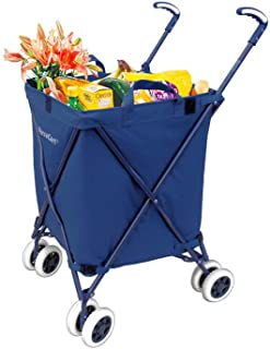 The Original VersaCart Transit Folding Shopping and Utility Cart, Water-Resistant Heavy-Duty Canvas with Cover, Double Front Swivel Wheels, Compact Folding, Transport Up To 120 Pounds, Signature Blue