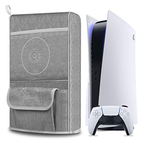 Couvercle Anti-Poussière pour PS5,Housse de Protection pour Sony Playstation 5,Anti-Rayures étanche,Prise en Charge de la PS5, des Contrôleurs et de 12 Disques de Jeu (Gris)