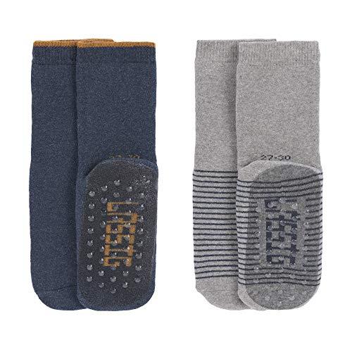 LÄSSIG Baby Kinder Anti-Rutsch Socken (2er Pack) Blue/Grey, Größe: 23-26