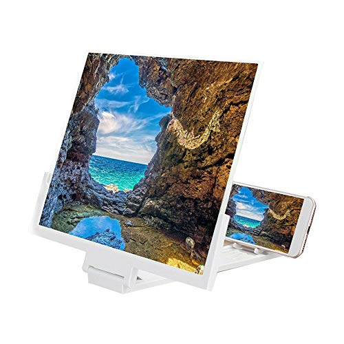 QAZWSXD Screen Magnifier 14' Hd Stend Enlarged Screen Phone Projection Cinema Amplificatore Mobile Phone Video White