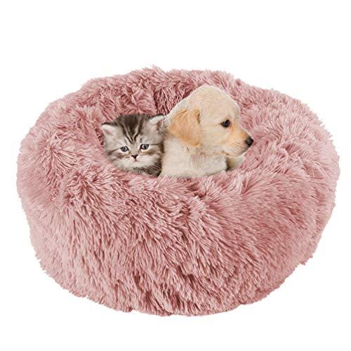 KEOA Flauschige Plüsch Hundebett Orthopädie Katzenzwinger Bett Rundes Doughnut-Form Haustierbett Hundekissen Waschbares-XXL Rosa