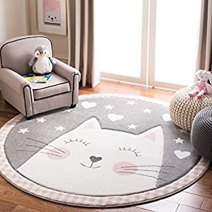 Safavieh Carousel Kids Collection CRK134P Cat Nursery Playroom Area Rug, 6'7″ x 6'7″ Round, Pink / Grey