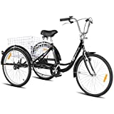 Goplus Adult Tricycle Trike Cruise Bike Three-Wheeled Bicycle with Large Size Basket for Recreation, Shopping, Exercise Men's Women's Bike (Black, 24' Wheel)