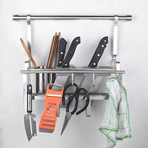 DYYDMM Wall-Mounted Knife Holder,Stainless Steel Kitchen Rack Multi-Function Cutting Board Supplies Storage Wall-Mounted Tool Rack