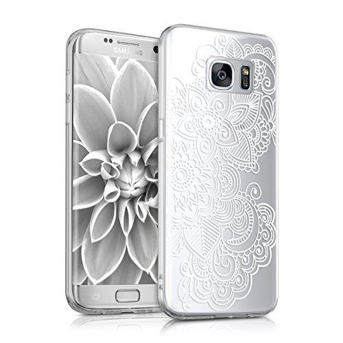 kwmobile Hülle kompatibel mit Samsung Galaxy S7 Edge - Handyhülle - Handy Case Ethno Filigran Weiß Transparent