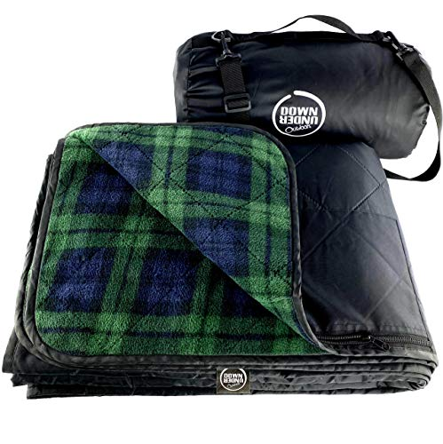 DOWN UNDER OUTDOORS Large Waterproof Windproof Extra Thick Quilted Fleece Stadium Blanket, Machine...