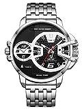 Alienwork Herren-Armbanduhr Quarz Silber mit Edelstahl Metallarmband Kalender Datum schwarz XL Über-große