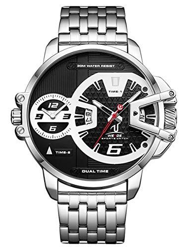 Alienwork Reloj Hombre Relojes Acero Inoxidable Plata Analógicos Cuarzo Calendario Fecha Negro Impermeable XL Grande