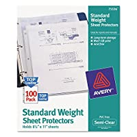 (Clear, 2 - Pack) - Avery Products - Avery - Top-Load Polypropylene Sheet Protectors, Letter, Semi-Clear, 100/Box - Sold As 1 Box - For lightly referenced documents. - Acid-free, archival-safe, nonstick material. - Nonglare finish.