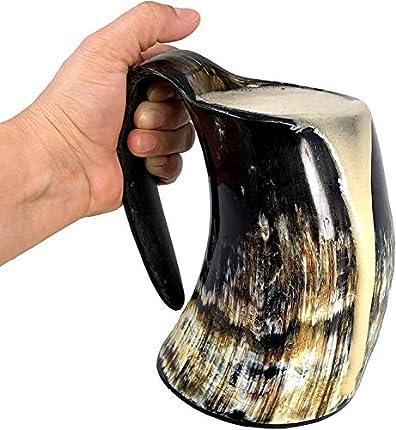 Jarra de cerveza AleHorn, en forma de cuerno para beber, hecha a mano