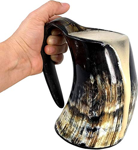 AleHorn the Original Handcrafted Authentic Viking Drinking Horn Large Tankard for Beer...
