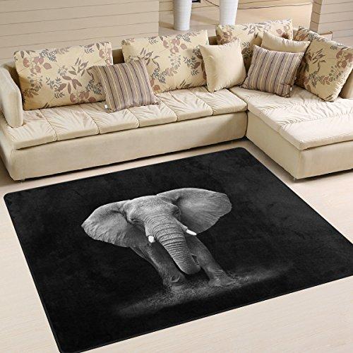 Elephant Black Rug for Living Room