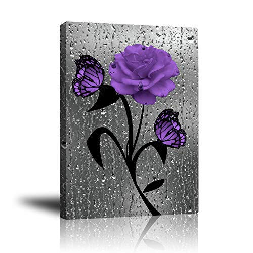 Premium Canvas Artwork Purple Rose with Butterfly, Giclee Prints Framed Pictures Wall Decor for Living Room Bedroom Bathroom Kitchen 16'x 20'