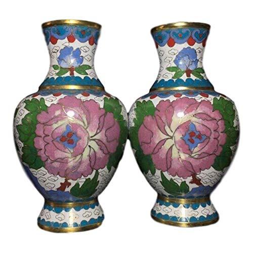 LAOJUNLU Cloisonne-Vase aus reinem Kupfer mit grünen Blättern, Nachahmung antiker Bronze, Meisterwerk-Kollektion einzelner, traditioneller chinesischer Schmuck.