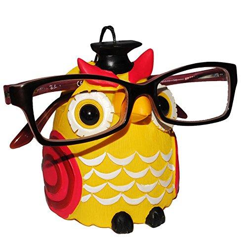 """Brillenhalter - """" verschiedene Eulen """" - stabil aus Kunstharz - Größe universal - für Kinder & Erwachsene / Brillenhalterung - lustiger Brillenständer - für Sonnenbrille Lesebrille - Brillenablage / Eule Vögel lustige Schule Prüfung"""