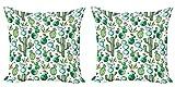 ABAKUHAUS Dibujos Animados Set de 2 Fundas para Cojín, Plantas de Cactus Mexicano, con Estampado en Ambos Lados con Cremallera, 60 cm x 60 cm, Cal Rosa pálido Verde