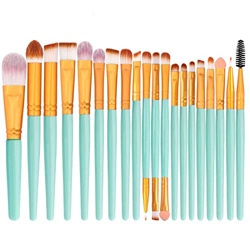 Nylon Wool Synthetic Fiber Professional Makeup Brushes Kit Set No Bristle Shedding For Eyebrows,Eye Shadow,Foundation,Blend And Lips,It's A Great Gift For Sisters And Girlfriends-Q-20Pieces