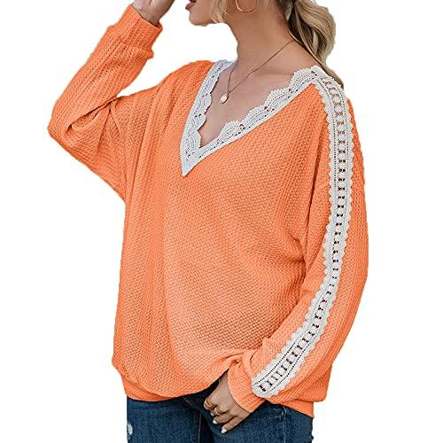 Primavera Y Verano Mujeres Sueltas Casual Color SóLido Hueco Encaje Costura Gofre Manga Larga Top Gasa Camiseta Mujer