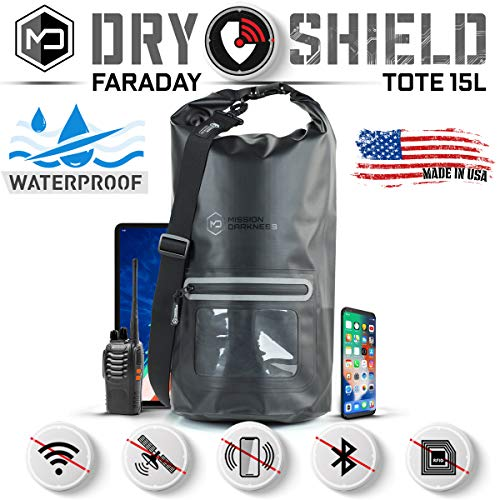 Mission Darkness Dry Shield Faraday Tote 15Lkg. Waterproof Dry Bag for Electronic Device Security & Transport/Signal Blocking/Anti-Tracking/EMP Shield/Data Privacy for Phones, Tablets, Laptops