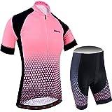 BXIO Maillot Ciclismo Mujer, Ciclismo Conjunto de Ropa con Pantalones Acolchado 3D para Deportes al Aire Libre Ciclo Bicicleta (Lightpink, M)