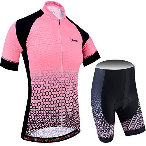 BXIO Maillot Ciclismo Mujer, Ciclismo Conjunto de Ropa con Pantalones Acolchado 3D...