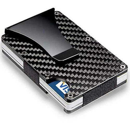 Cartera Tarjetero con tecnologia de Bloque RFID para Evitar clonación de Tarjetas/Tarjetero Billetera Carteras para Hombre y Mujer/Fabricada en Fibra de Carbono con Clip para Billetes