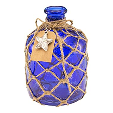 Beachcombers Cobalt Blue Round Glass Bottle with Jute Rope Netting and Starfish Accent