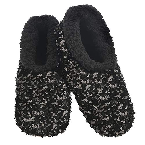 Snoozies Womens Slipper Socks - - Cozy Slippers for Women - Fuzzy House Slippers for Indoor Use - Soft Sole Slippers - Sequin Glam Bling - Black - Large