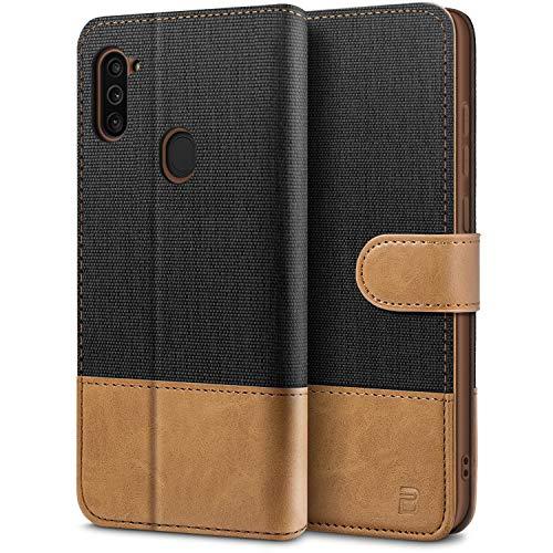 BEZ Handyhülle für Samsung M11 Hülle, Tasche Kompatibel für Samsung Galaxy M11, Schutzhüllen aus Klappetui mit Kreditkartenhaltern, Ständer, Magnetverschluss, Schwarz