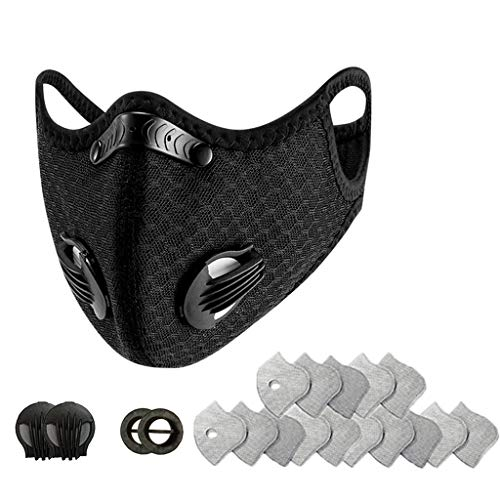 Great Price! Face Bandanas with Breathing valve + Replaceable Filters Anti Dust for Cycling, Running...
