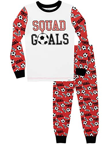 Harry Bear Jungen Fußball Schlafanzug Slim Fit Rot 134