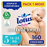 Lotus Baby Natural Touch - Couches Taille 5 (12-22 kg) - lot de 8 paquets de 20 couches (160 couches au total)