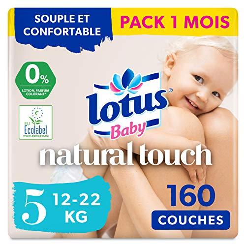 Lotus Baby Natural Touch - Couches Taille 5 (12-22 kg) - lot de 8 paquets de 20 couches (160 couches au total)