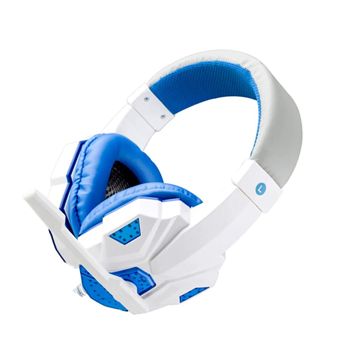 zzpopGG Earrings,LED Light Soft Ear Muff Adjustable Over-Ear PC Notebook Gaming Wired Headset - Blue White No led