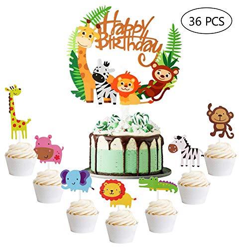 Speed Sell EU 156 36 Stück iZoeL Geburtstag Tortendeko 35 Stück Tier Kuchendeckel Cupcake Topper and 1 Stück Happy Birthday Dschungel Girlande für Kinder Junge Mädchen