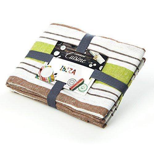 Lumaland Torchon-Chiffons de Cuisine Ibiza 4couleurs.Set 4 pièces. 100% Coton 50 x 70 cm Vert