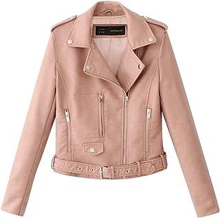 UONQD Women Rivet Lapel Motor Jacket ,Coat Zip Biker Short Punk Jacket Cropped caot