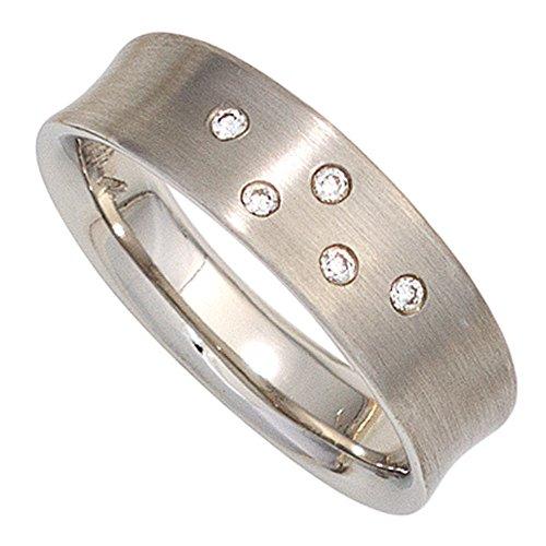 Ring Damenring mit 5 Diamanten Brillanten 950 Platin mattiert Platinring, Ringgröße:Innenumfang 56mm ~ Ø17.8mm