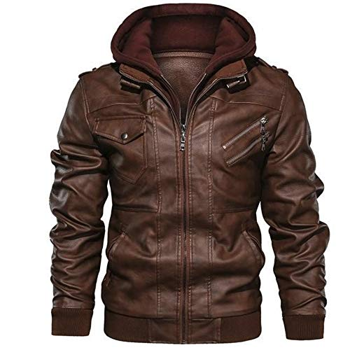 CHAOLUAN Flavor Men Leather Motorcycle Jacket,Men's Faux Leather Jacket PU Leather Moto Jacket with Removable Hood (Brown, XXL)