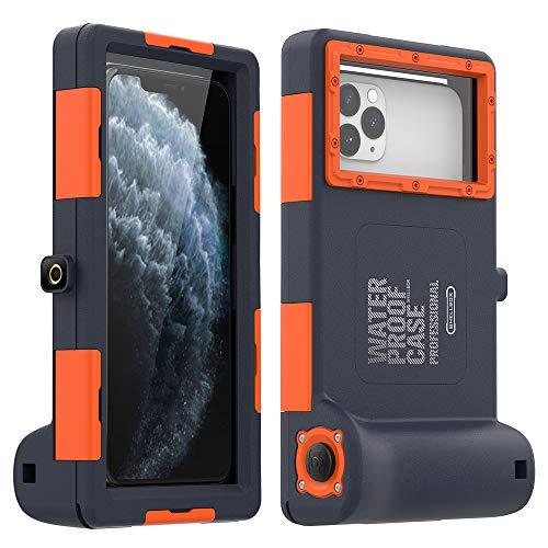 Funda para teléfono celular impermeable de 15,24 m, para surf, natación, esnórquel, vídeo fotográfico, compatible con todos los Samsung Galaxy Apple iPhone Series (naranja)