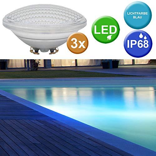 3er Set SMD LED Swimming Pool Leuchtmittel Becken Scheinwerfer PAR56 Lampen blau