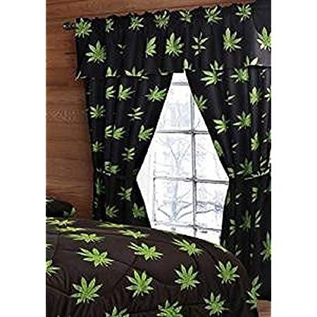 Regal Comfort Pot Marijuana Leaf 5 Piece Curtain Set