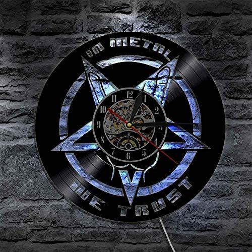ZZLLL Trust Music Quote Rock Mano Reloj de Pared Rock Roll Heavy Metal Registro de música Reloj de Pared Regalo para los Amantes de la música