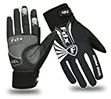 FDX Cycling Gloves Winter Cold Weather Windproof Full Finger Touch Screen Gloves (Black/White, Medium)